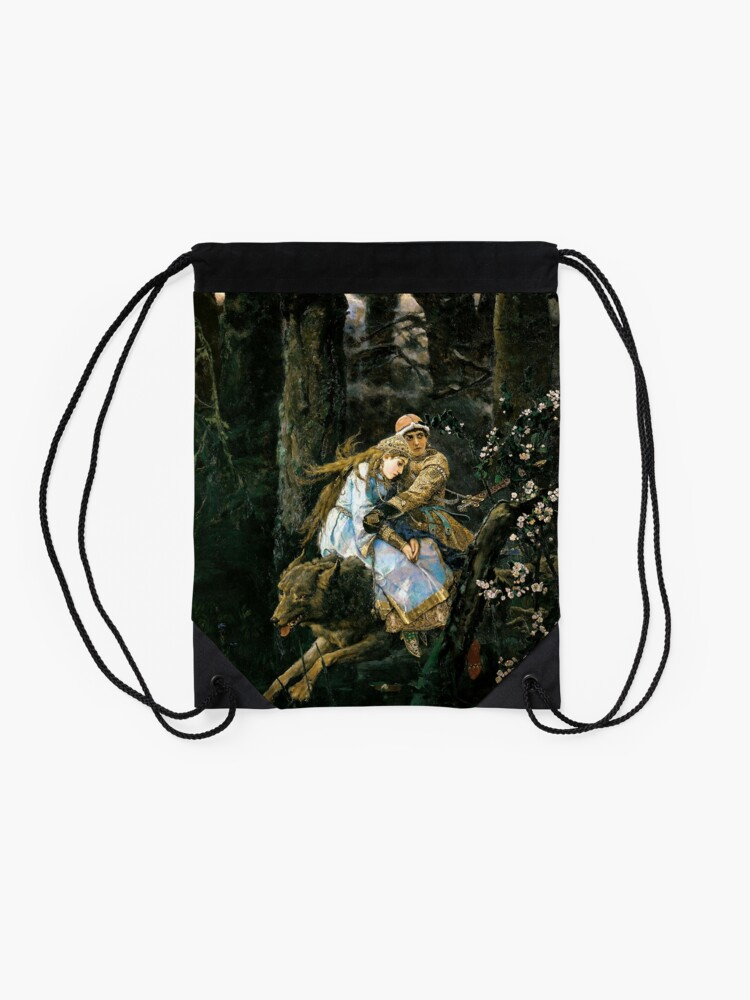 Alternate view of Ivan tsarevich riding the grey wolf Drawstring Bag