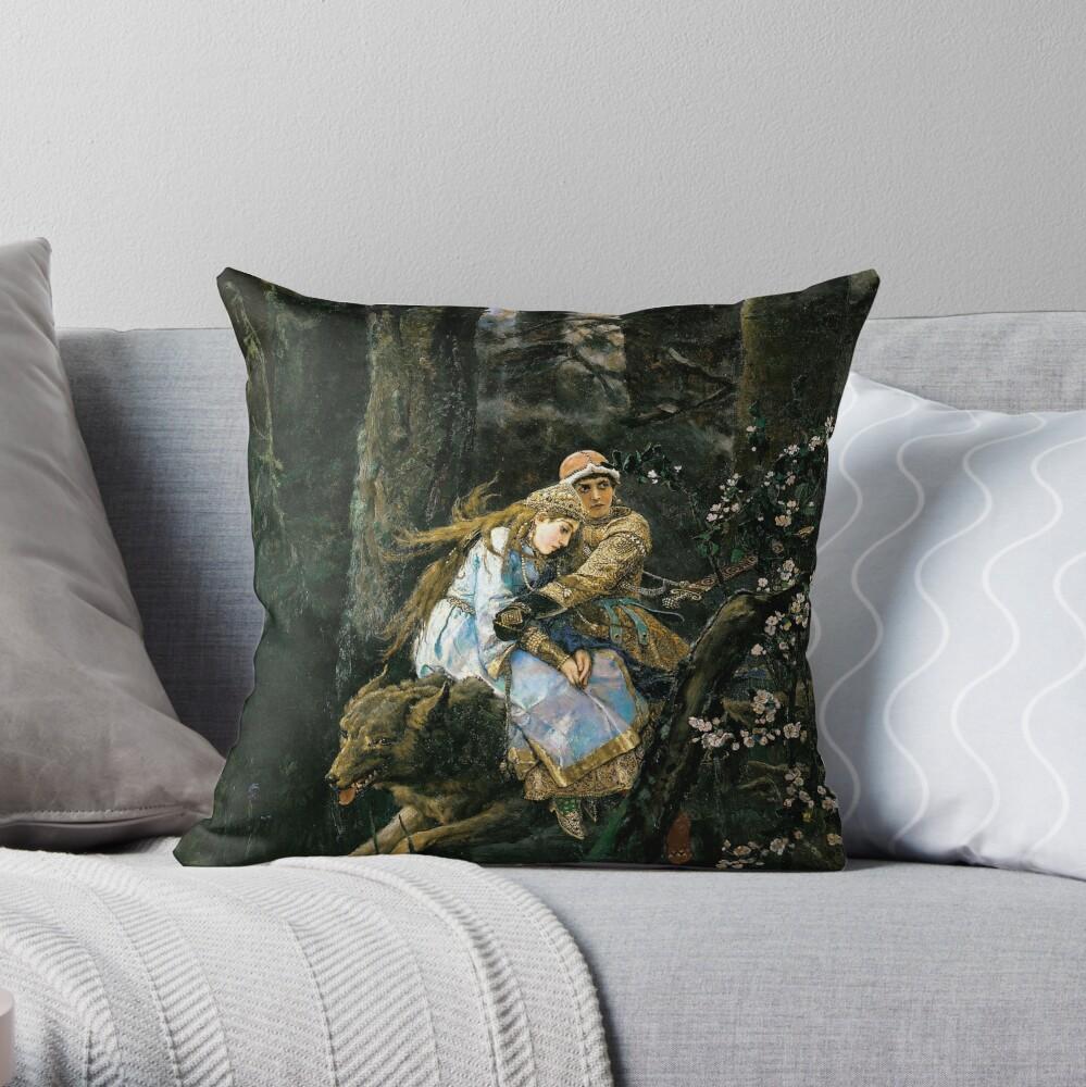Ivan tsarevich riding the grey wolf Throw Pillow
