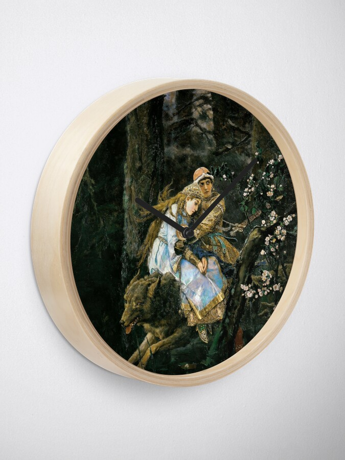 Alternate view of Ivan tsarevich riding the grey wolf Clock