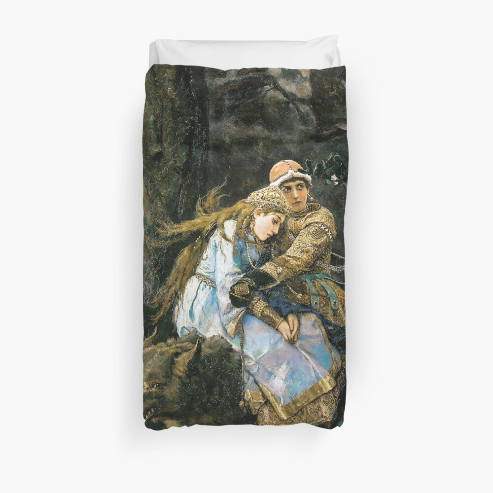 Ivan tsarevich riding the grey wolf Duvet Cover