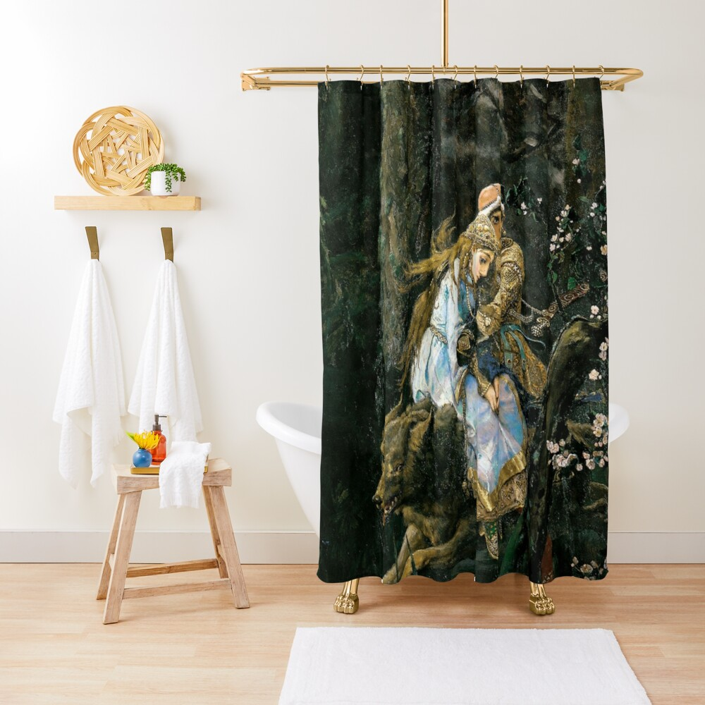 Ivan tsarevich riding the grey wolf Shower Curtain