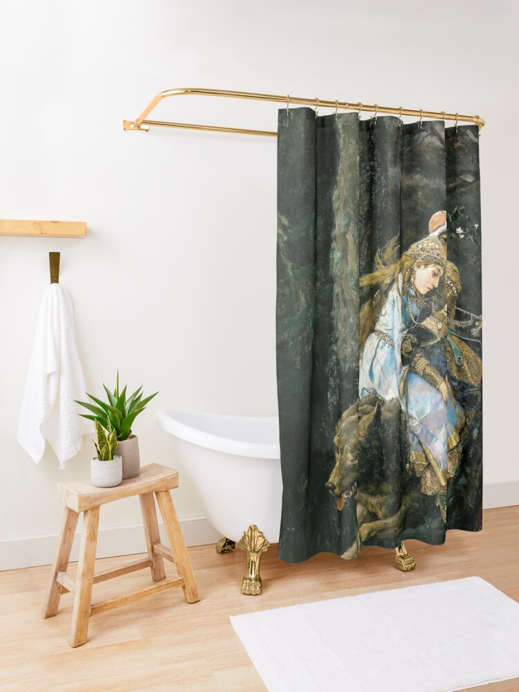 Alternate view of Ivan tsarevich riding the grey wolf Shower Curtain