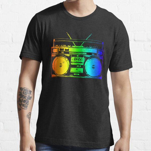 Boombox Ghettoblaster Rainbow 80s Neon Glow Retro Tie Dye Art Essential T-Shirt