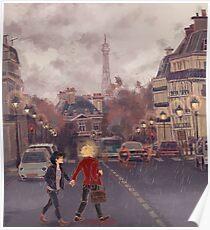 Póster París bajo la lluvia