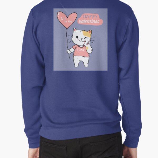 Cute Cat Happy Valentines  Pullover Sweatshirt