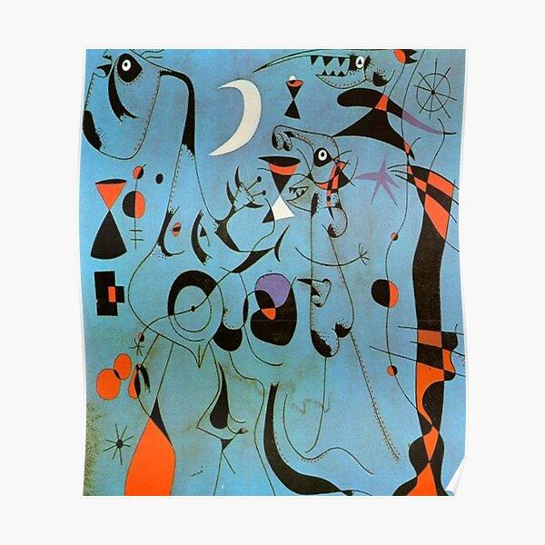 """Joan Miro """"Figur bei Nacht, geführt von den phosphoreszierenden Spuren der Schnecken"""" Poster"""