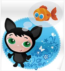 Cute funny kitten with fish vector illustration Poster