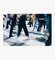 Blurred Legs of People Crossing Shibuya Crossing in Tokyo Photographic Print