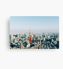 Tokyo Cityscape With Tokyo Tower on Sunny Day Canvas Print