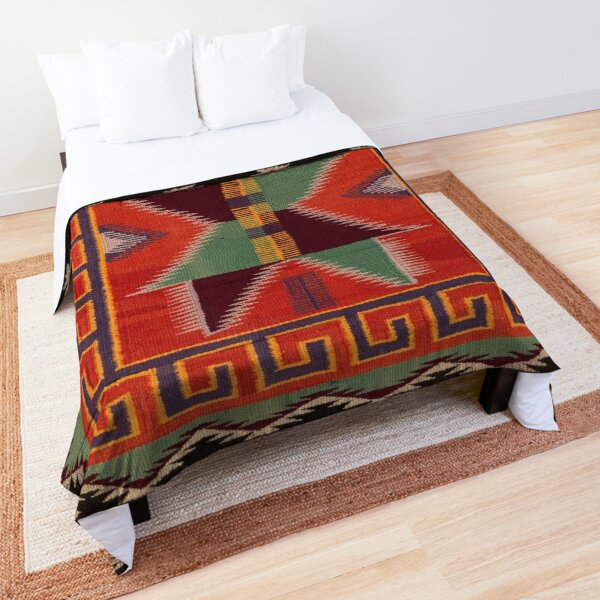 NAVAJO 1890 SADDLE BLANKET SCAN GENUINE NATIVE AMERICAN ART Comforter