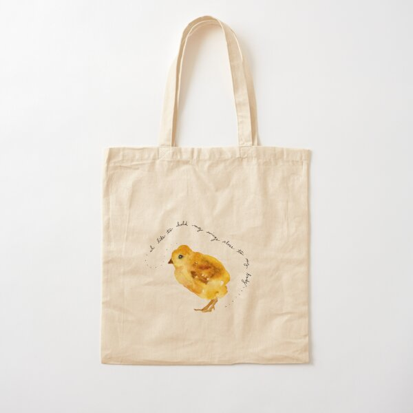 """Baby Chicken Watercolor Painting: """"I like to hold my wings close to my body...."""" by Meia Geddes Cotton Tote Bag"""