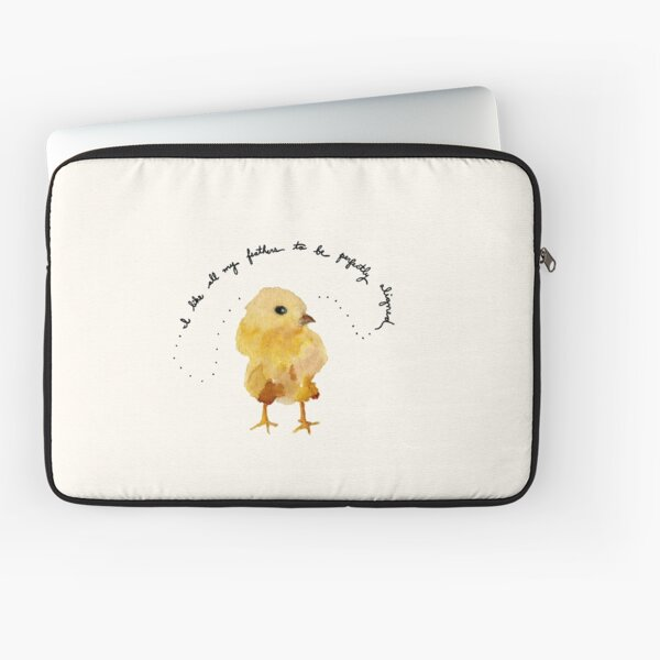 """Baby Chick Watercolor Painting: """"I like all my feathers to be perfectly aligned"""" by Meia Geddes Laptop Sleeve"""