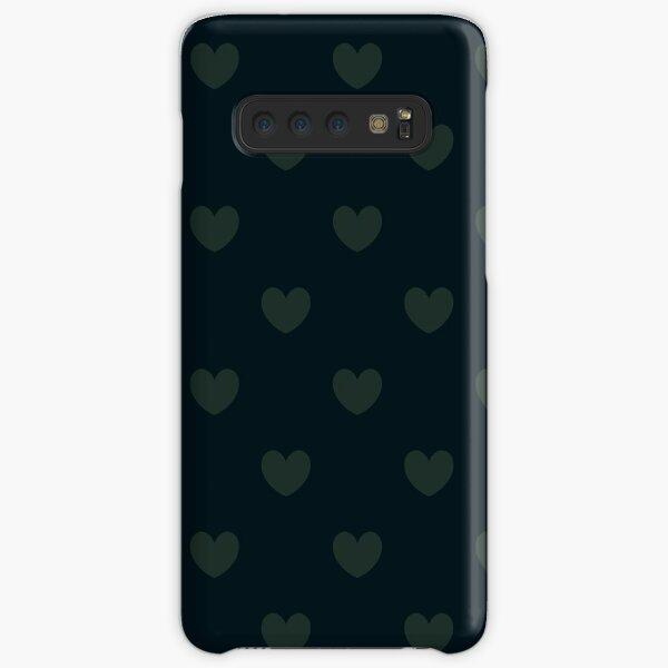 Muted hearts in khaki and navy polka dot pattern Samsung Galaxy Snap Case