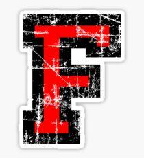 Letter F Vintage Black Red Character Sticker