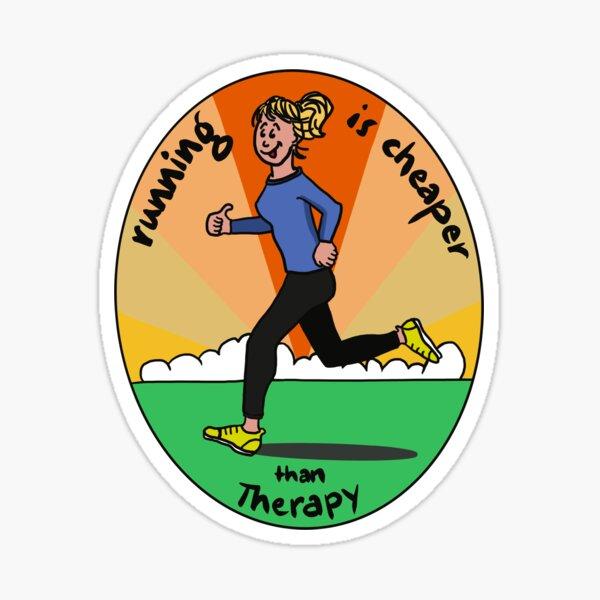 running is cheaper than therapy -laufen ist billiger als Therapie, gute Vorsätze für 2021 Sticker