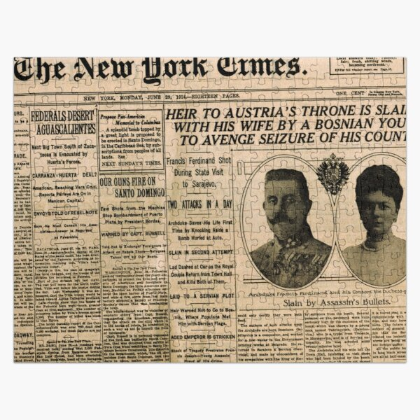 Newspaper article on the assassination of Archduke Franz Ferdinand. Old Newspaper, 28th June 1914, #OldNewspaper #Newspaper Jigsaw Puzzle