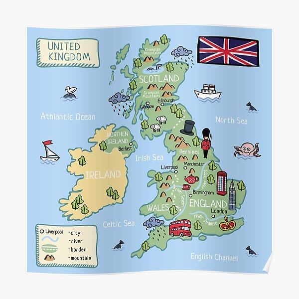 Cartoon map United Kingdom Poster