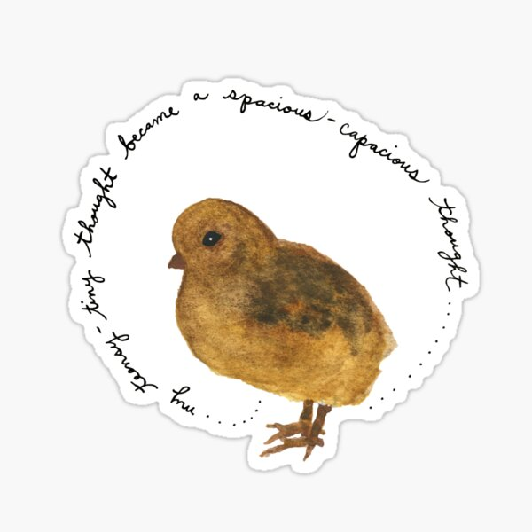 """Baby Chick Watercolor Painting: """"My teensy-tiny thought became a spacious-capacious thought"""" by Meia Geddes Sticker"""