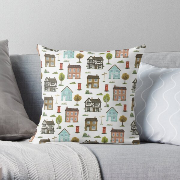 English Houses Pattern Throw Pillow
