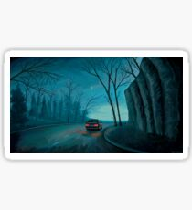 Night Woods Painting Mixed Media Stickers