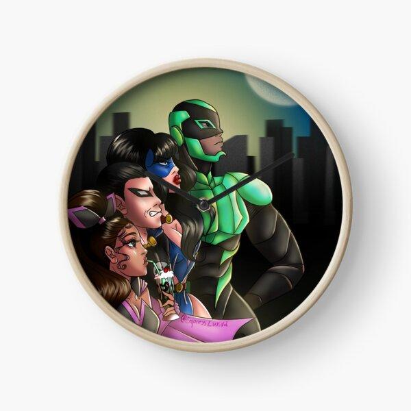 Eva with milkshake, not taking dramatic superhero moment too seriously Clock