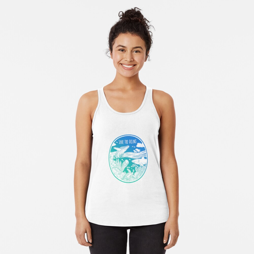 Save the Oceans! Racerback Tank Top
