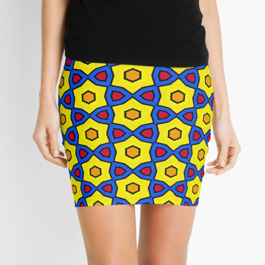 Colorful Yellow, Red and Blue Mosaic Pattern Mini Skirt