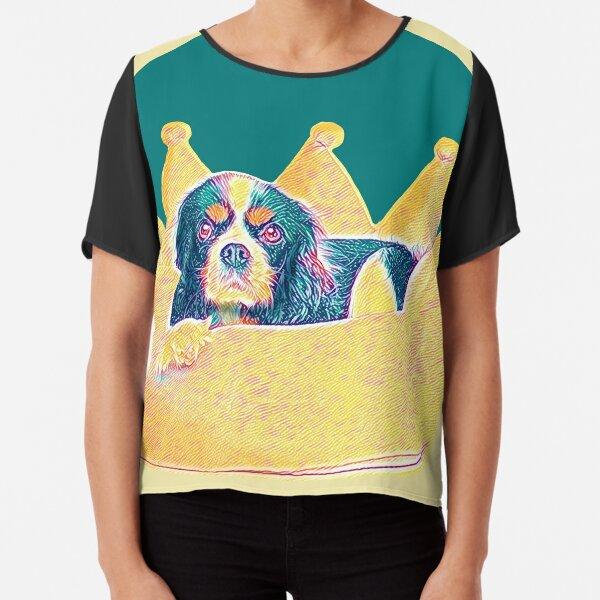 Cute Cavalier King Charles Spaniel dog art in crown bed Chiffon Top