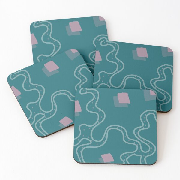 Blue and Pink Cubes Coasters (Set of 4)