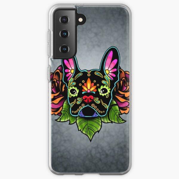 Day of the Dead French Bulldog in Black Sugar Skull Dog Samsung Galaxy Soft Case