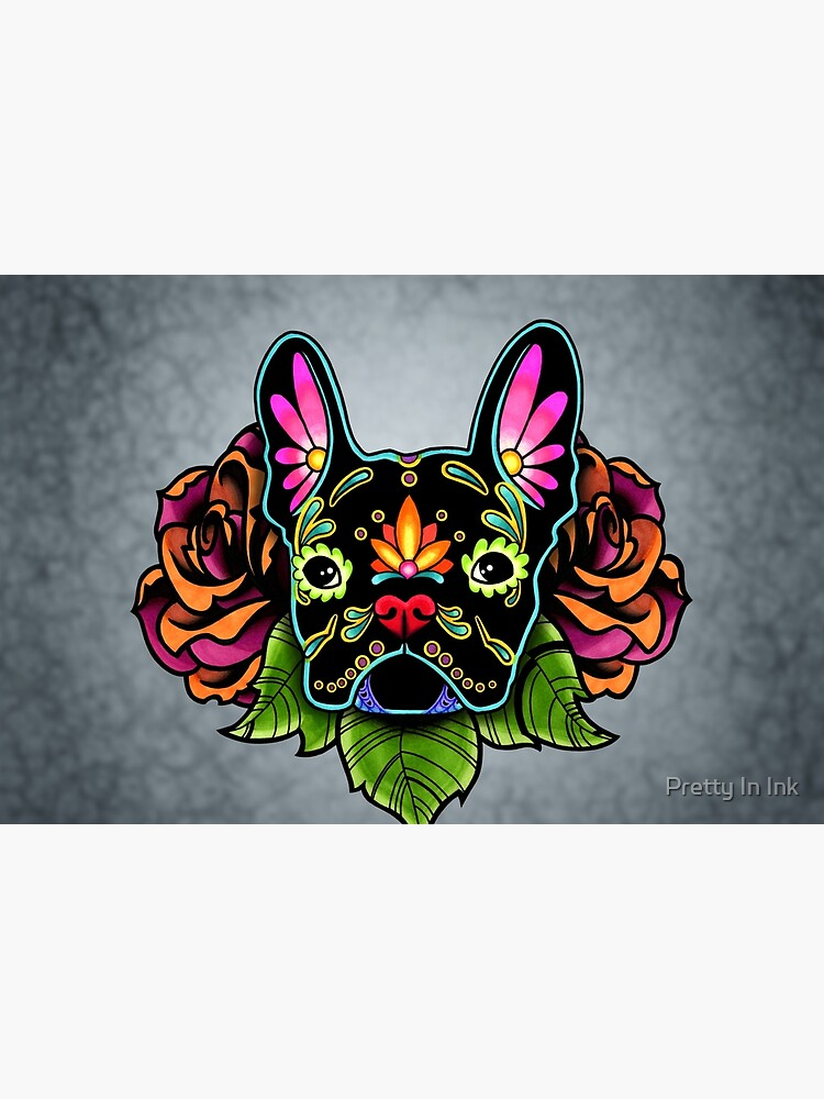 Day of the Dead French Bulldog in Black Sugar Skull Dog by prettyinink