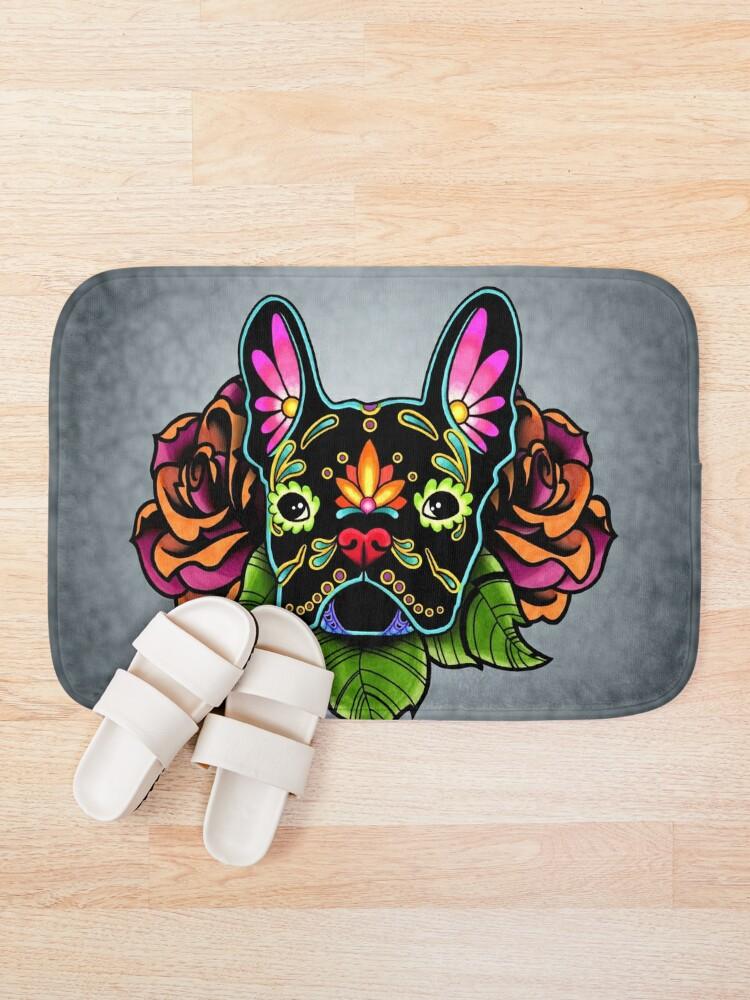 Alternate view of Day of the Dead French Bulldog in Black Sugar Skull Dog Bath Mat