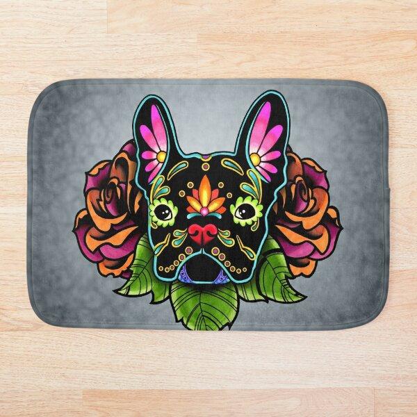Day of the Dead French Bulldog in Black Sugar Skull Dog Bath Mat