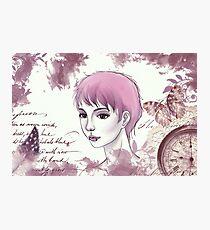 Nerdy Girl Pastell Vintage Postcard Photographic Print