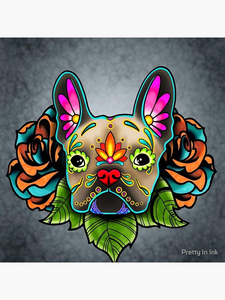 Day of the Dead French Bulldog in Fawn Sugar Skull Dog by prettyinink