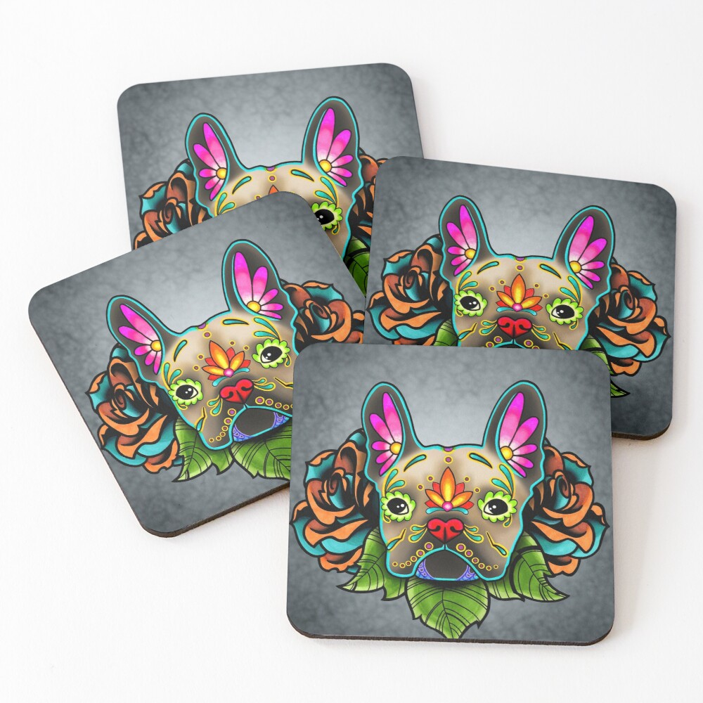 Day of the Dead French Bulldog in Fawn Sugar Skull Dog Coasters (Set of 4)