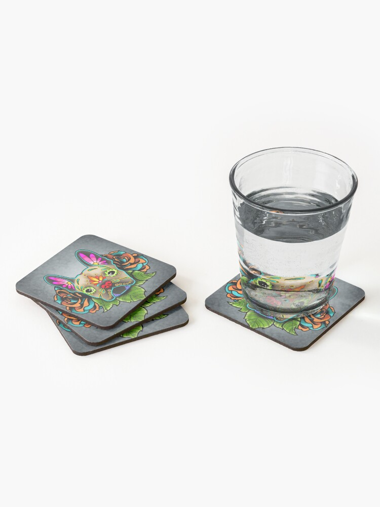 Alternate view of Day of the Dead French Bulldog in Fawn Sugar Skull Dog Coasters (Set of 4)