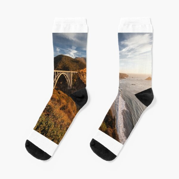 Bixby Canyon Bridge Sunset Socks
