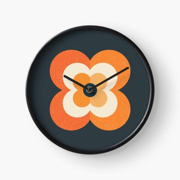 Retro Flower - Orange and Charcoal Clock