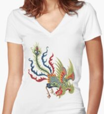 Chinese Rooster Asian Art Women's Fitted V-Neck T-Shirt