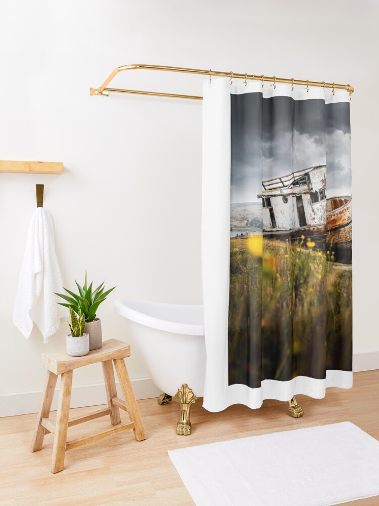Alternate view of Stormy Shipwreck Shower Curtain