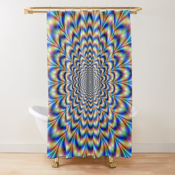 Optical illusion Trip can use color, light and patterns to create images that can be deceptive or misleading to our brains.  Shower Curtain