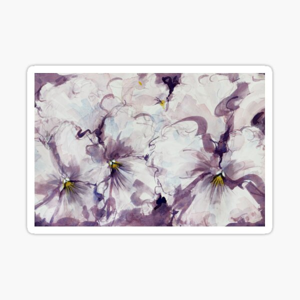 Pretty Mauve and White Pansies Sticker