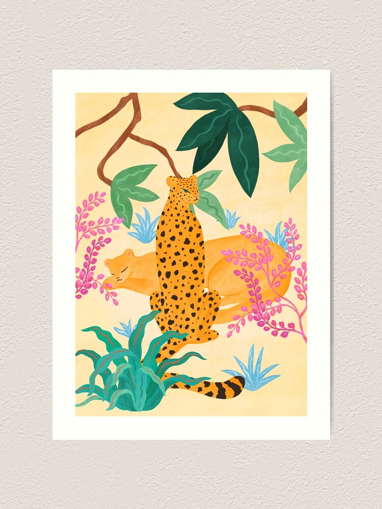 Alternate view of Panthers in Magical Garden Art Print