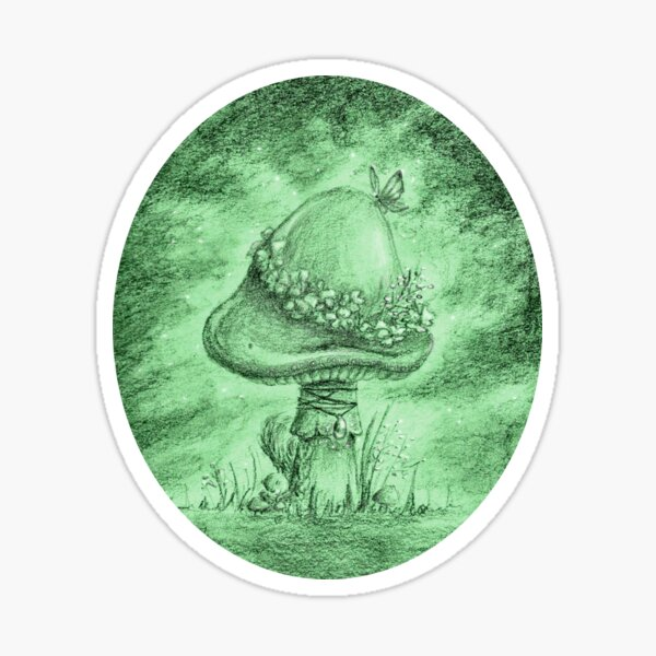 Fairy Mushroom (Green Sticker) Sticker