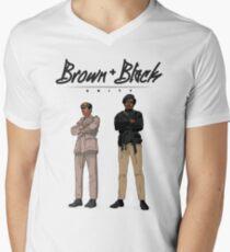 Brown + Black Einheit T-Shirt mit V-Ausschnitt