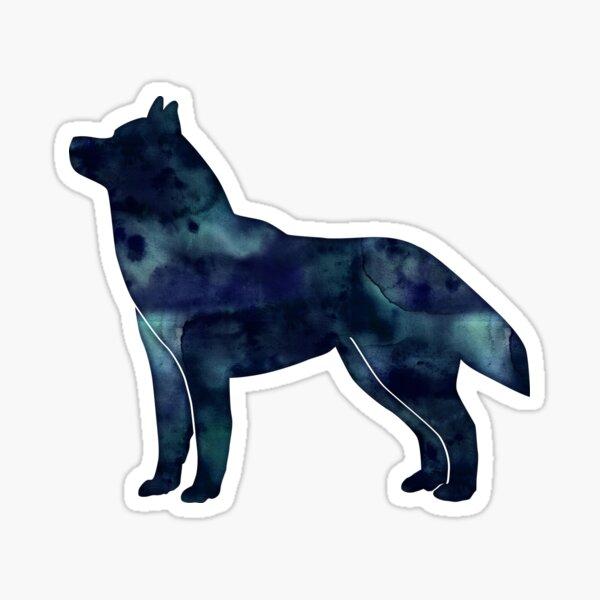 Siberian Husky Black Watercolor Silhouette Sticker