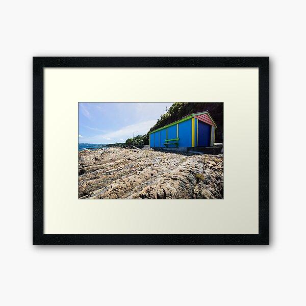 Lone boatshed. Framed Art Print
