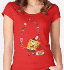 Spongebob and Krabby Patties Women's Fitted Scoop T-Shirt