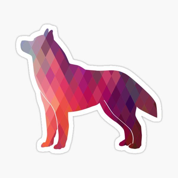 Siberian Husky Colorful Geometric Pattern Silhouette Pink Sticker